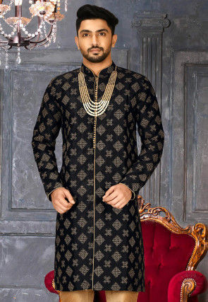 Embroidered Dupion Silk Kurta in Black