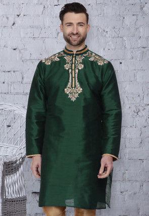 Embroidered Dupion Silk Kurta in Dark Green