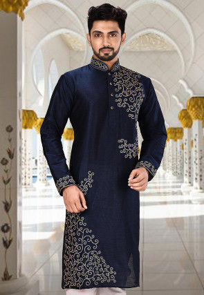Embroidered Dupion Silk Kurta in Dark Navy Blue