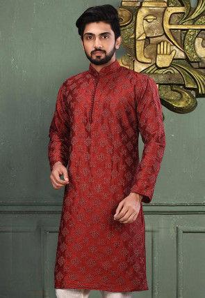Embroidered Dupion Silk Kurta in Maroon