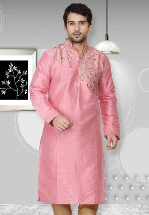 Embroidered Dupion Silk Kurta in Pink