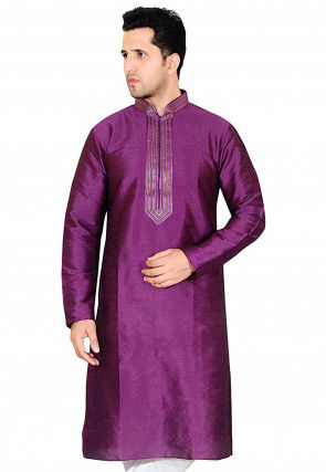 Embroidered Dupion Silk Kurta in Purple