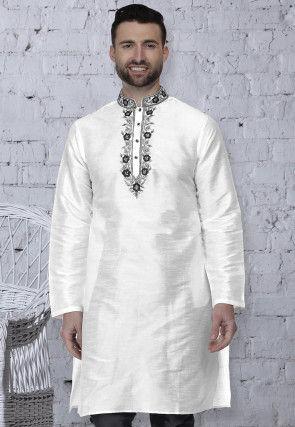 Embroidered Dupion Silk Kurta in White