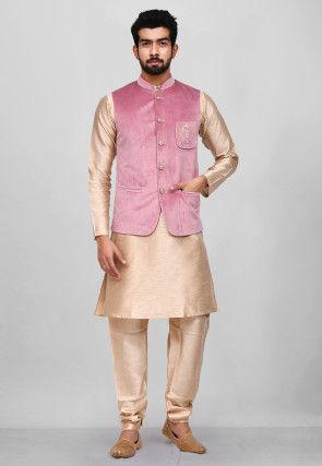 Embroidered Dupion Silk Kurta Jacket Set in Beige and Pink