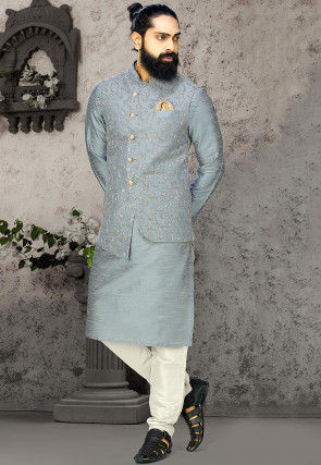Embroidered Dupion Silk Kurta Jacket Set in Grey