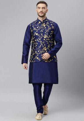 Embroidered Dupion Silk Kurta Jacket Set in Navy Blue