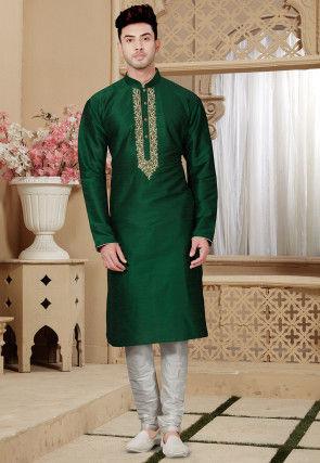 Embroidered Dupion Silk Kurta Pajama in Dark Green