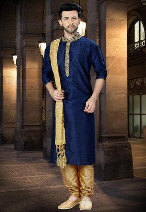 Embroidered Dupion Silk Kurta Pajama in Navy Blue