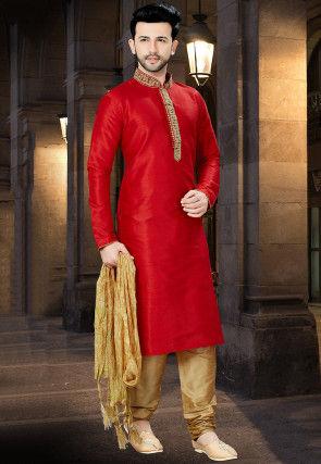 Embroidered Dupion Silk Kurta Pajama in Red