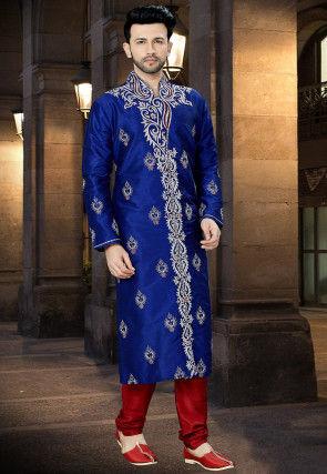 Embroidered Dupion Silk Kurta Pajama In Royal Blue