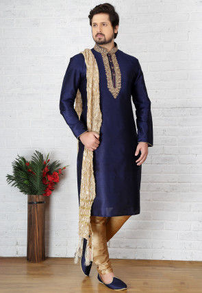 Embroidered Dupion Silk Kurta Pyjama in Dark Blue