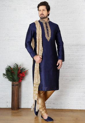Embroidered Dupion Silk Kurta Pyjama in Dark Blue
