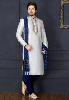 Embroidered Dupion Silk Kurta Pyjama in Off White
