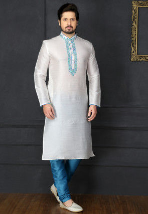 Embroidered Dupion Silk Kurta Pyjama in Off White