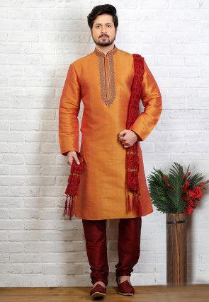Embroidered Dupion Silk Kurta Pyjama in Orange