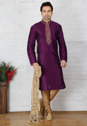 Embroidered Dupion Silk Kurta Pyjama in Violet