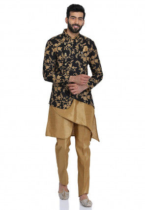 Embroidered Dupion Silk Kurta Set in Beige and Black