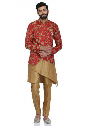 Embroidered Dupion Silk Kurta Set in Beige and Coral Red
