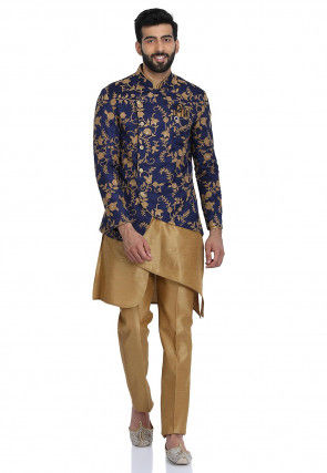Embroidered Dupion Silk Kurta Set in Beige and Navy Blue