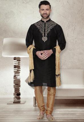 Embroidered Dupion Silk Kurta Set in Black