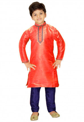 Embroidered Dupion Silk Kurta Set in Coral Red