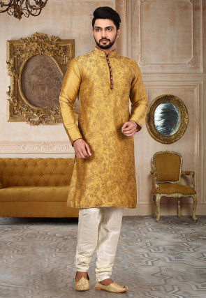 Embroidered Dupion Silk Kurta Set in Dark Beige