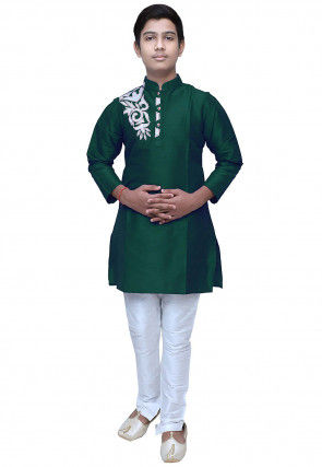 Embroidered Dupion Silk Kurta Set in Dark Green