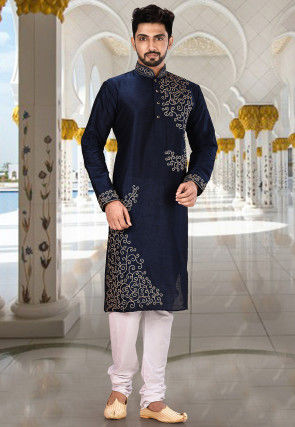 Embroidered Dupion Silk Kurta Set in Dark Navy Blue and White