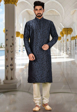 Embroidered Dupion Silk Kurta Set in Dusty Blue and White