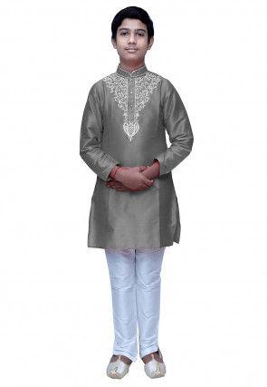 Embroidered Dupion Silk Kurta Set in Grey