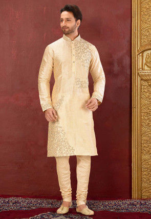 Embroidered Dupion Silk Kurta Set in Light Beige