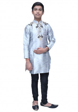 Embroidered Dupion Silk Kurta Set in Light Grey