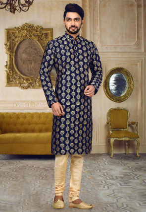 Embroidered Dupion Silk Kurta Set in Navy Blue