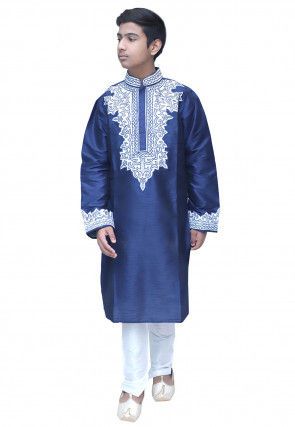 Embroidered Dupion Silk Kurta Set in Navy Blue