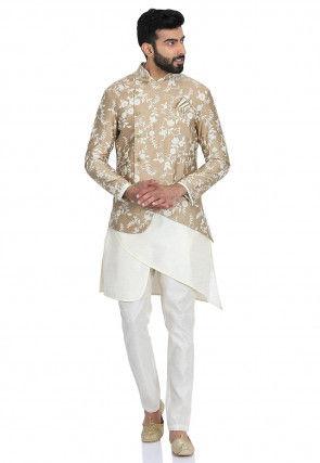 Embroidered Dupion Silk Kurta Set in Off White and Beige