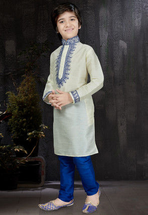 Embroidered Dupion Silk Kurta Set in Off White