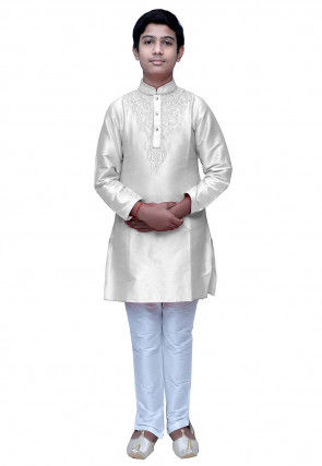 Embroidered Dupion Silk Kurta Set in Off White