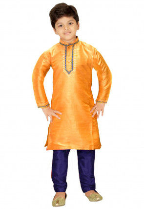 Embroidered Dupion Silk Kurta Set in Orange