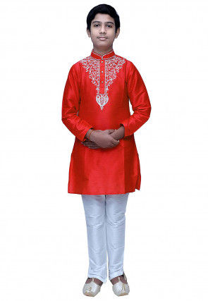 Embroidered Dupion Silk Kurta Set in Red