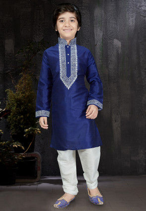 Embroidered Dupion Silk Kurta Set in Royal Blue