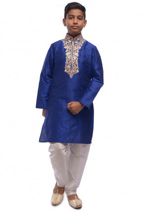 Embroidered Dupion Silk Kurta Set in Royal Blue