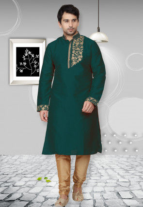 Embroidered Dupion Silk Kurta Set in Teal Green