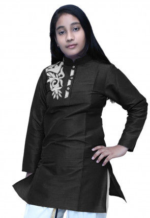 Embroidered Dupion Silk Kurti in Black