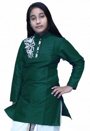 Embroidered Dupion Silk Kurti in Dark Green