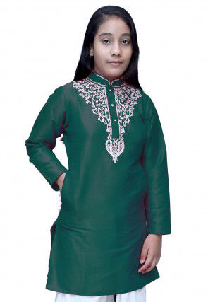 Embroidered Dupion Silk Kurti in Dark Green