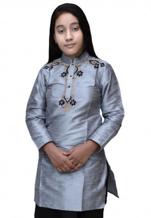 Embroidered Dupion Silk Kurti in Grey