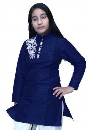 Embroidered Dupion Silk Kurti in Navy Blue