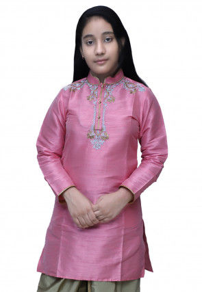 Embroidered Dupion Silk Kurti in Pink