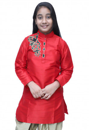 Embroidered Dupion Silk Kurti in Red