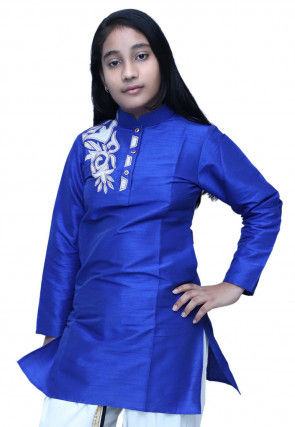 Embroidered Dupion Silk Kurti in Royal Blue